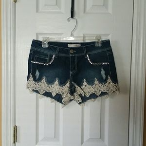 No Boundaries Embellished Denim Shorts